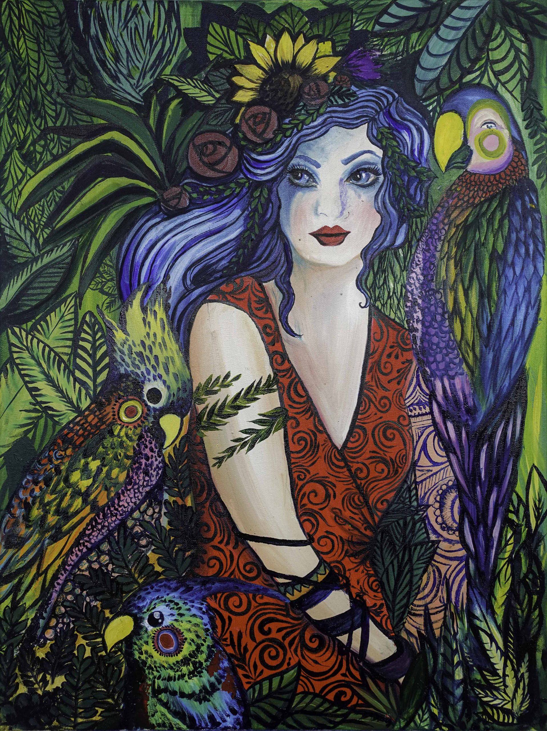 Parrot Lady (60cm x 80cm)